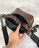 Стильная сумочка на пояс Элен коричневый крокодил, фото 3