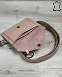 Кожаная женская сумка на пояс «Moris» пудра, фото 3