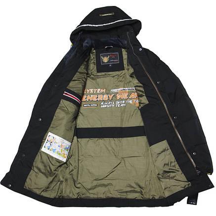 Зимняя удлиненная куртка парка для мальчика подростка 164-176 рост ZPJV черная, фото 2