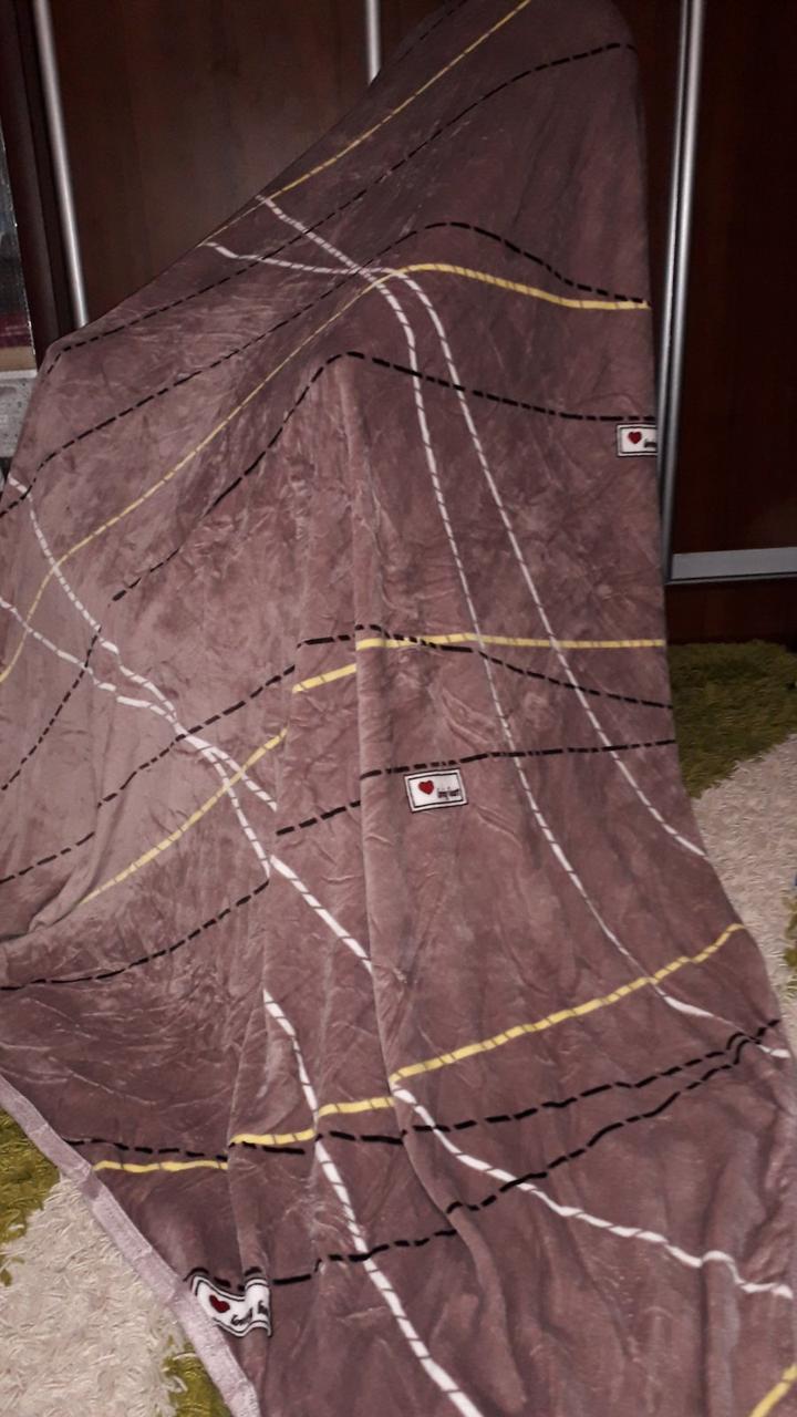 Велюровий плед покривало Смужки на коричневому євро розмір 200 х 220 см