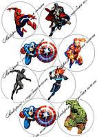 """Съедобная картинка """"Супергерои Марвел"""" сахарная и вафельная картинка а4"""