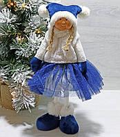 М'яка новорічна іграшка Дівчинка в синьому 38 см, фото 1