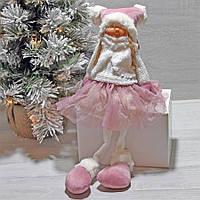 Игрушка мягкая новогодняя Девочка в розовом 43 см, фото 1