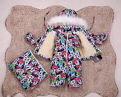 Дитячий зимовий комбінезон для дівчинки з принтом Minnie Mouse