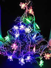 Гирлянда LED фигурная разноцветная Снежинка 3 метра