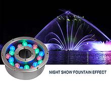 Підводний прожектор світлодіодний RGB DC 12v 24 Вт IP68 з пультом для фонтану і басейну