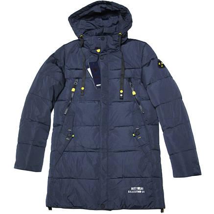 Зимняя подростковая куртка полупальто для мальчика 152-158  рост ZPJV синяя, фото 2