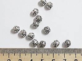 Фурнітура для біжутерії намистина метал. Фурнитура для бижутерии  5 мм. Колір срібло. Ціна за 5 штук.