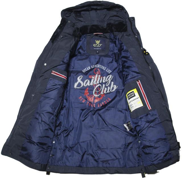 подростковая зимняя куртка пальто  для мальчика синяя модная