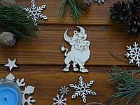 Деревянная елочная игрушка Бычек №3