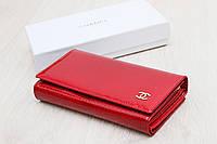 Женский кожаный кошелек темно красный с визитницей, фото 1