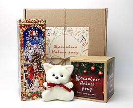 """Подарунок новорічний """"Щастя приносить котик"""": новорічне печиво з передбаченнями, набір чаю і котик-талісман"""