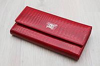 Женский кожаный кошелек красный с визитницей, фото 1