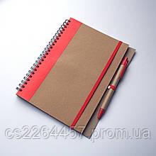 Набор блокнотов. Блокнот 165*210мм формат с ручкой с мягкой обложкой резинкой и цветной вставкой.