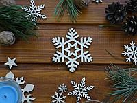 Деревянная елочная игрушка Снежинка №14