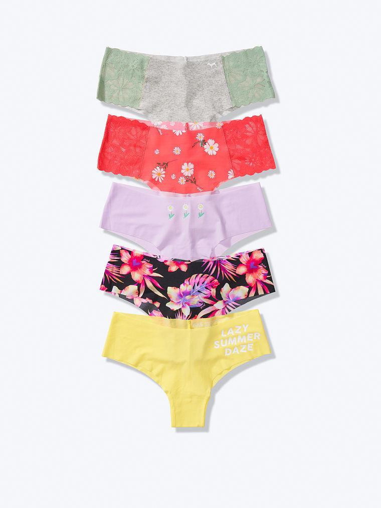 Бесшовные трусики Victoria's Secret PINK No Show Cheekster Panty, Набор 5 шт, р. S