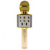 Бездротової Bluetooth караоке-мікрофон з вбудованим динаміком Star Voice золотий (RSK-052) Q7, фото 1