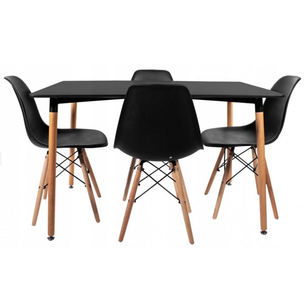 Столик кухонный обеденный Bonro В-950-1200 120х80х75 см + 4 черных кресла В-173