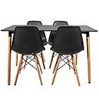 Столик кухонный обеденный Bonro В-950-1200 120х80х75 см + 4 черных кресла В-173, фото 2