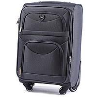Дорожный чемодан тканевый Wings 6802 ручная кладь на 4 колесах серый