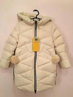 Зимовий пухове пальто на дівчинку з помпонами Фабричний Китай, фото 1