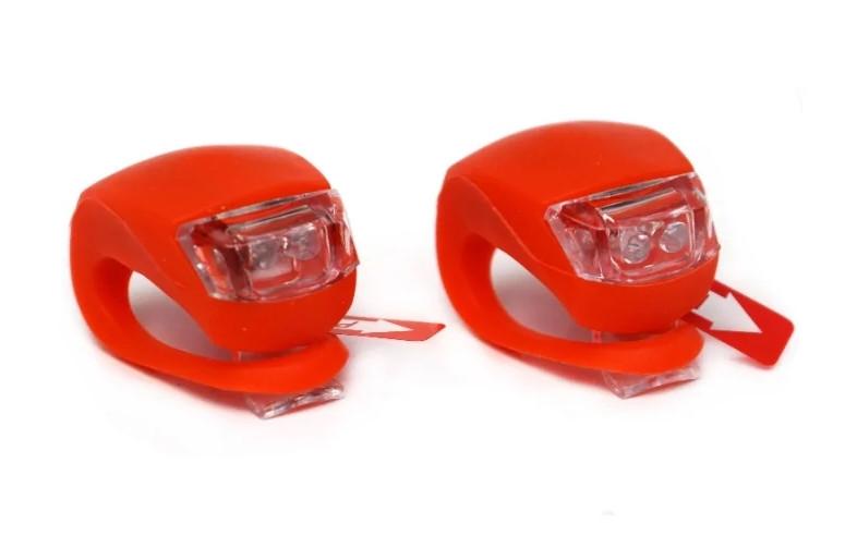 Силиконовые фонарики (мигалки) на велосипед (2 шт - красный свет) HJ008-2W