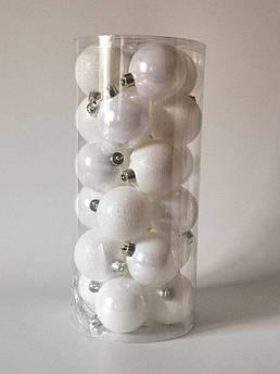 Новогодние елочные шары белые, 6 см. 24 шт