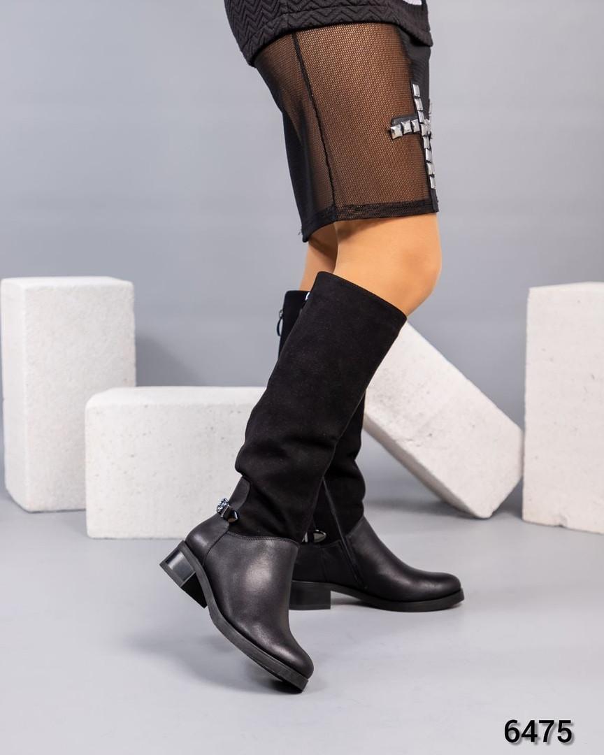 Удобные сапоги  женские зимние черные