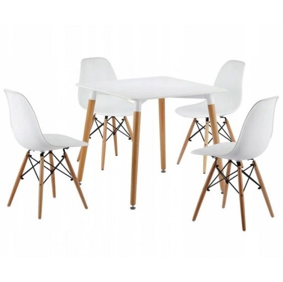 Столик кухонный обеденный Bonro В-950-800 80х80х75 см + 4 белых кресла В-173