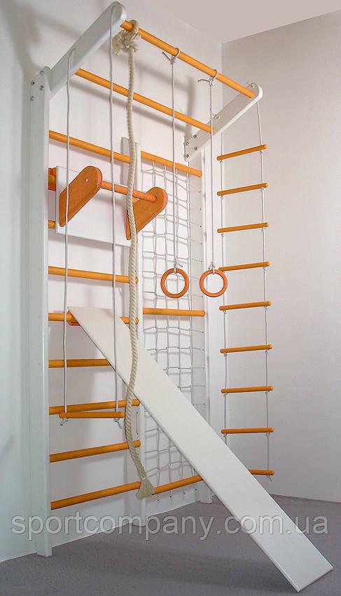 Детский домашний спортивный комплекс Комби TrioEnotov бело-оранжевый полный комплект