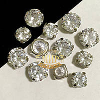 Фианиты в серебряных цапах 10mm Crystal