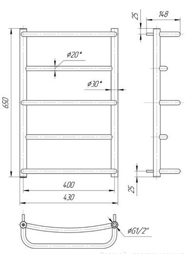 габаритные размеры водяного полотенцесушителя Mario Люкс HP 650x430/400