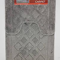 Набор ковриков с ворсом для ванной, серый, 50х80 и туалета 50х40cм.