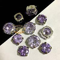 Фианиты в серебряных цапах 10mm Violet
