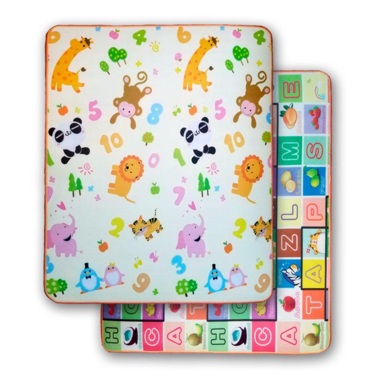Развивающий двухстронний детский игровой термо коврик для ползания  1500*1800*10