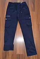 УТЕПЛЕНІ сині Котонові штани з накладними кишенями на флісі для хлопчиків. Розміри 134-164 див. мФирма S&D, фото 1