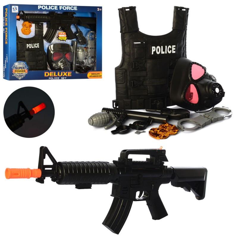 Набор полицейского жилет,маска,автомат