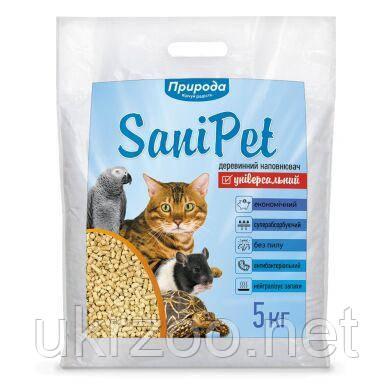 Наповнювач Природа Sani Pet деревний універсальний 5 кг, PR740415