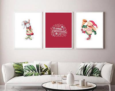 Набор новогодних плакатов постеры Christmas Nursery плакат формат А3