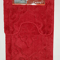 Набор ковриков с ворсом для ванной, бордовый, 50х80 и туалета 50х40cм.