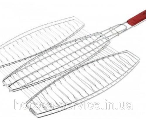 Решітка нержавіюча овальна для гриля, барбекю для 3ех риб 400*370 мм (шт)