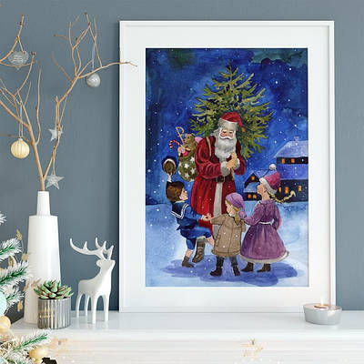 Новогодний плакат Santa Claus with kids формат А3