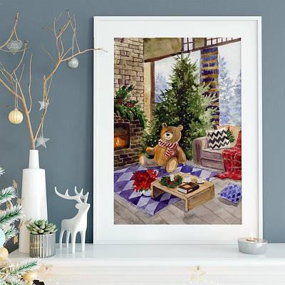 Новорічний плакат Teddy Bear and Christmas Tree формат А3