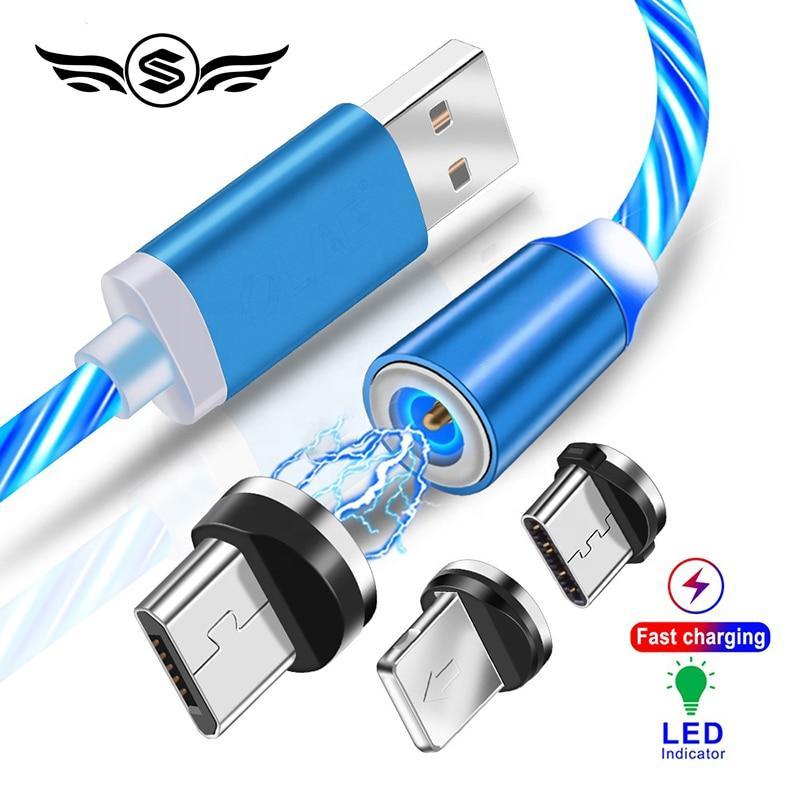 Светящееся Магнитный кабель USB  для Android
