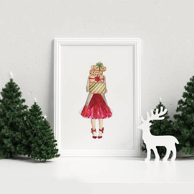 Новогодний плакат Christmas Fashion Girl формат А4