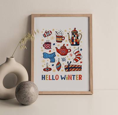 Новогодний плакат Hello Winter  формат А3