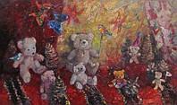 Картина для детской комнаты «Игра мишек» (купить картину для дома, декорирование дома)