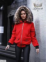 Женская деми Куртка Бомбер на овчине Красная, Хаки, Бежевая, фото 1