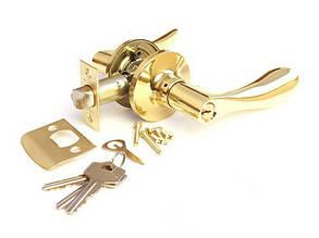Ручка защелка Apecs 891-01-G с фиксацией+ключи (Золото)