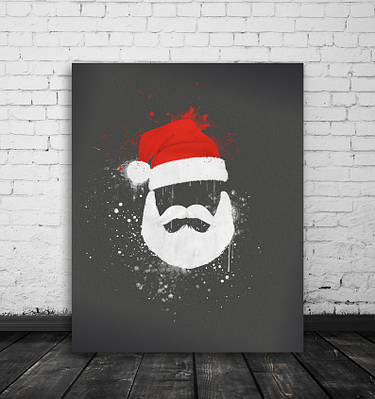 Новогодний плакат Red White Santa формат А3